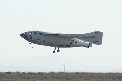SpaceShipOne lands following the first privately funded spaceflight