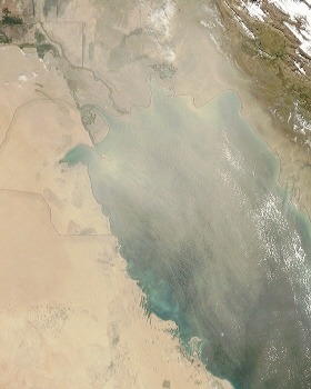 Terra spacecraft MODIS instrument image of a Persian Gulf dust storm