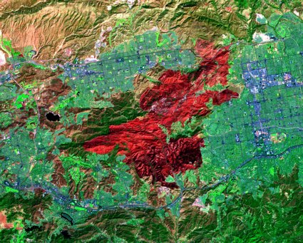 Terra satellite ASTER instrument image of the Topanga wildfire burn zone