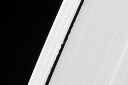 Disturbance in Saturn's rings caused by the moon Daphnis