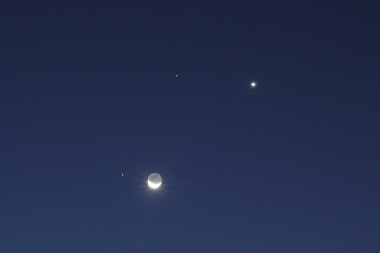Image of a double conjunction of the Moon, Mars, Venus, and Regulus