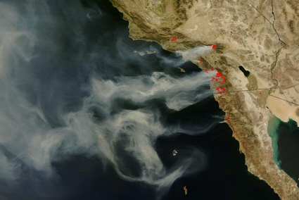 Terra satellite image of southern California wildfires