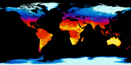 Satellite map of the average Earth surface temperature