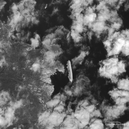 Satellite view of the cruise ship Costa Concordia disaster
