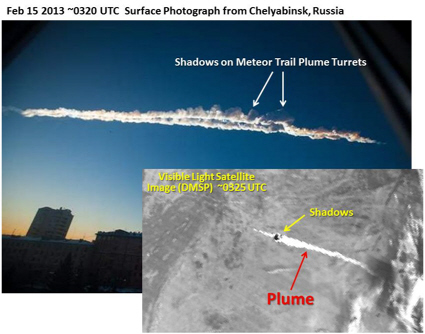 DMSP satellite image of Russian meteor