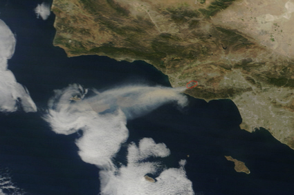 Terra spacecraft view of Springs fire, california