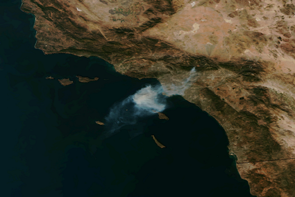 NOAA satellite image of Colby Fire
