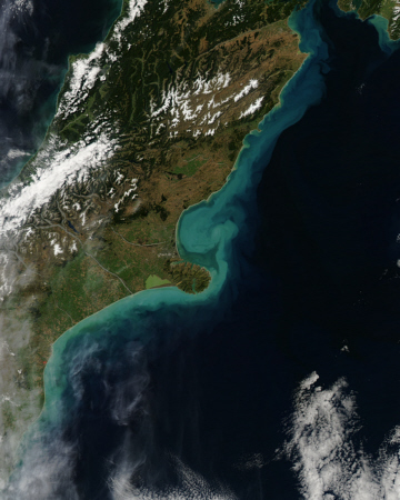 Aqua satellite image of New Zeland