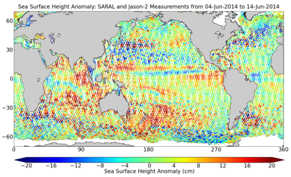 SARAL and Jason-2 sea surface height
