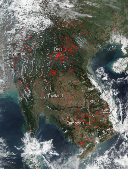 Suomi NPP satellite image of Indochina fires