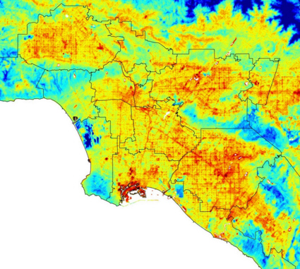 Thermal image of Los Angeles