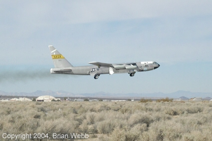 The B-52 / X-43A leaves Edwards AFB